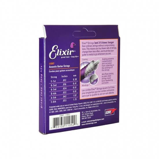 Elixir 11052 Nanoweb超薄涂层 青铜 012-053 民谣吉他弦